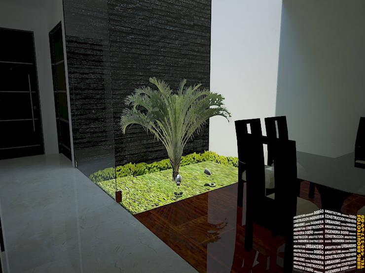 CUBO DE LUZ: Pasillos y recibidores de estilo  por HHRG ARQUITECTOS