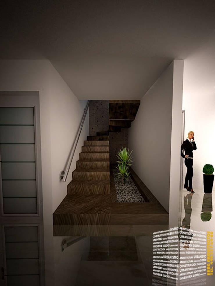 ESCALERA CON JARDINERA Pasillos, vestíbulos y escaleras minimalistas de HHRG ARQUITECTOS Minimalista