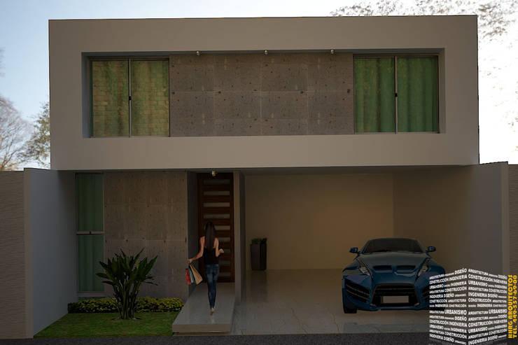 FACHADA CON COCHERA TECHADA: Casas de estilo  por HHRG ARQUITECTOS