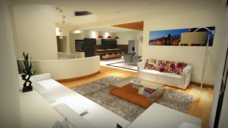 CASA PD – SANTA ISABEL: Salas de estilo  por Arquitectura . Diseño