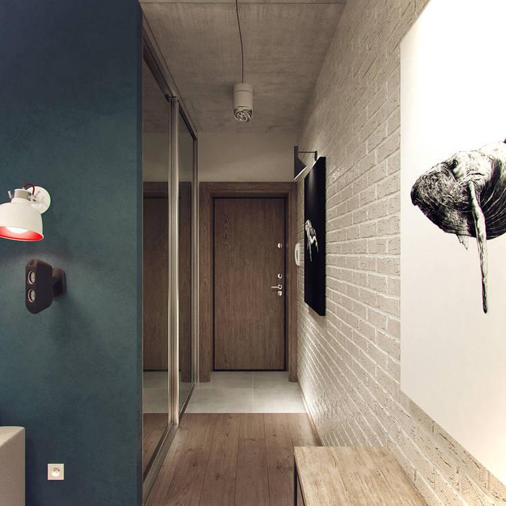 Pasillos, vestíbulos y escaleras industriales de Студия дизайна Марии Губиной Industrial