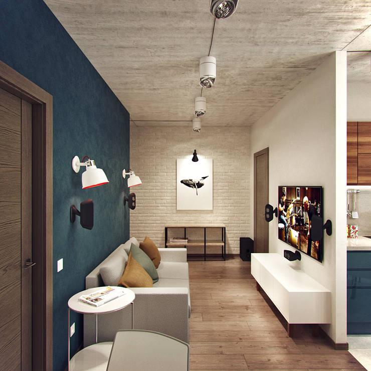 Salas de estilo industrial de Студия дизайна Марии Губиной Industrial
