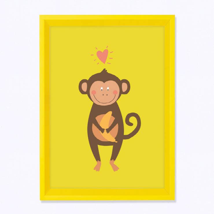 주폴라 옐로우 컬렉션 아이방 북유럽 인테리어 그림 액자(Zoopola yellow Wall deco frame): Brillian Co.의  아이 방