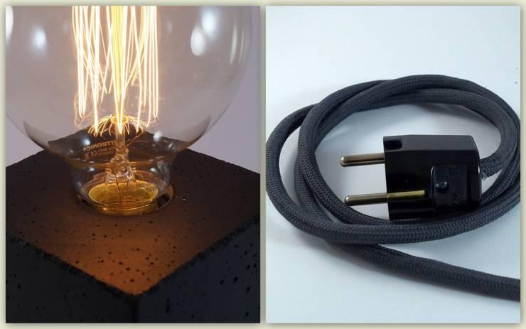 """Betonlampe. Tischlampe. """"cubo/black"""":  Geschäftsräume & Stores von Uniikat.de,"""
