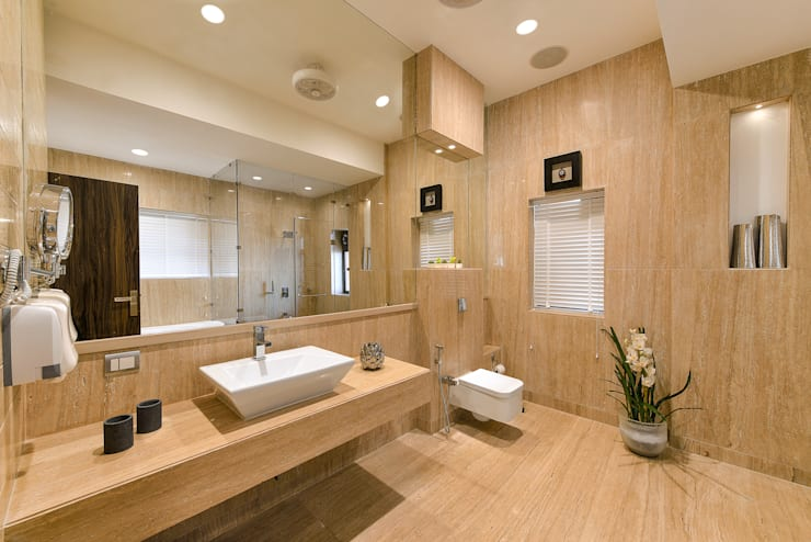 minimalistic Bathroom by ARK Reza Kabul Architects Pvt. Ltd.