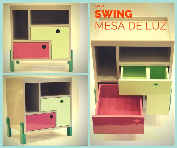 Mesa de luz Swing: Dormitorios de estilo moderno por Sibonia