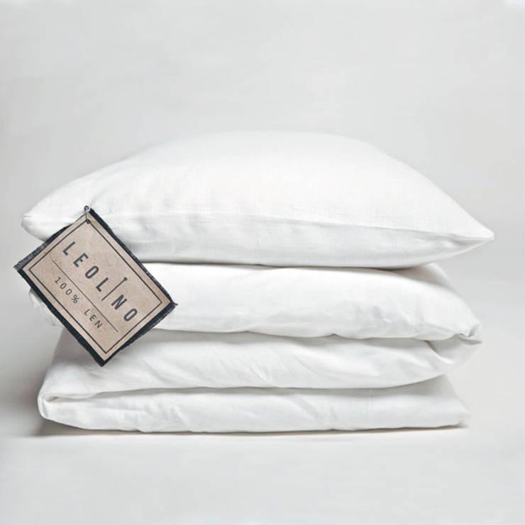 POŚCIEL LNIANA 100% LEN BIANCO: styl , w kategorii Sypialnia zaprojektowany przez Leolino
