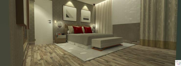 Quarto de Hóspedes: Quarto  por Rangel & Bonicelli Design de Interiores Bioenergético