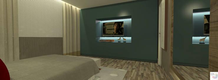Quarto de Hóspedes: Quartos  por Rangel & Bonicelli Design de Interiores Bioenergético