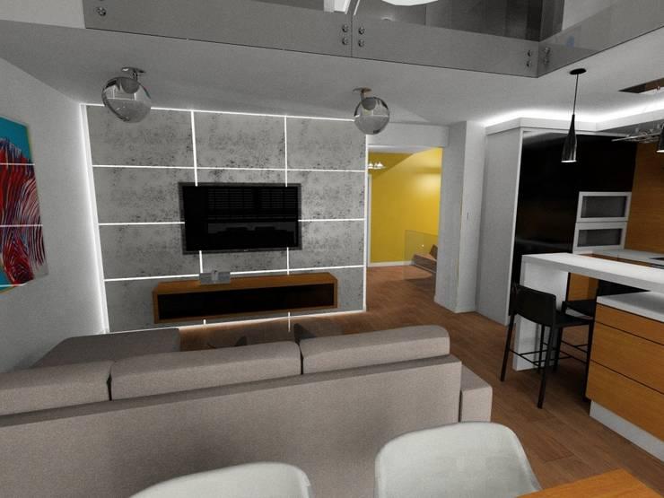 salon z aneksem kuchennym: styl , w kategorii  zaprojektowany przez Plan Design Katarzyna Szczucka Projektowanie Wnętrz