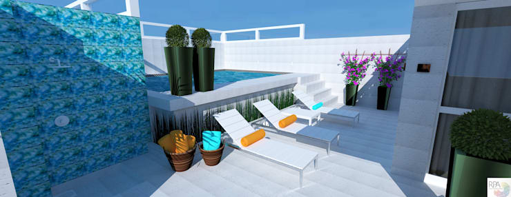 Varanda da cobertura: Varanda, alpendre e terraço  por Rangel & Bonicelli Design de Interiores Bioenergético