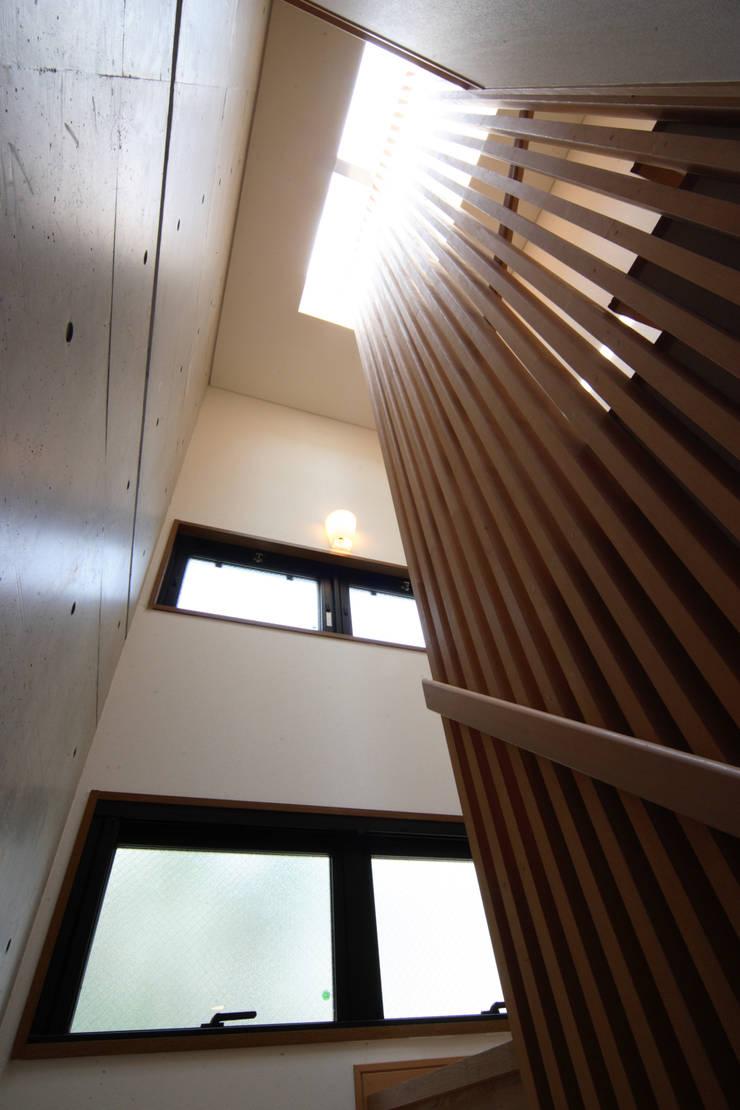 階段室: K2・PLAN 株式会社本多建築設計事務所が手掛けた廊下 & 玄関です。,モダン 木 木目調