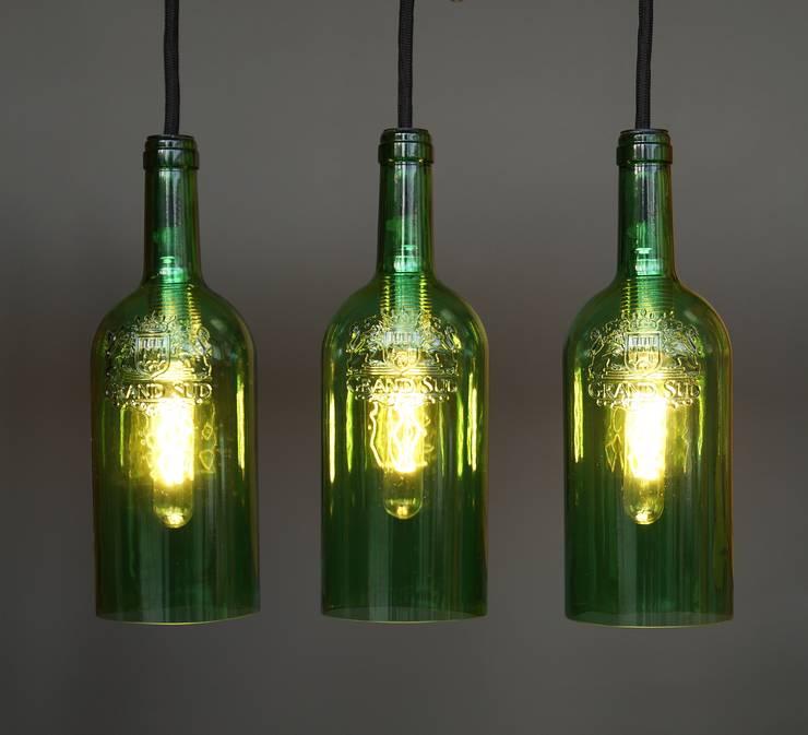 """Vintage Hängelampe, Deckenlampe """"tres"""":   von Uniikat.de,Ausgefallen Glas"""