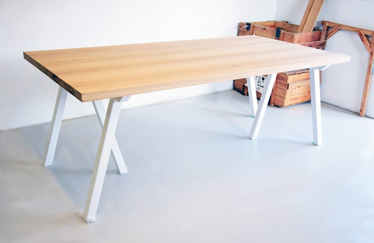 Stół z dębowym blatem Blaise: styl , w kategorii Jadalnia zaprojektowany przez Blaise Handmade Furniture,