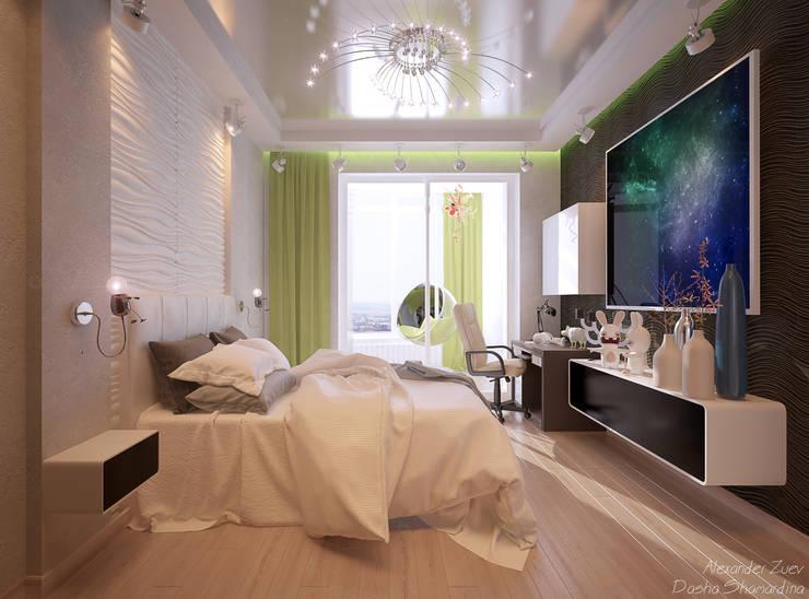 """Дизайн спальни мальчика в современном стиле  в ЖК """"Новый город"""": Спальни в . Автор – Студия интерьерного дизайна happy.design"""