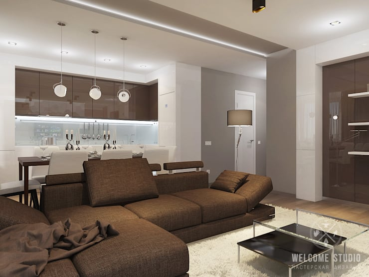 Living room by Мастерская дизайна Welcome Studio, Minimalist
