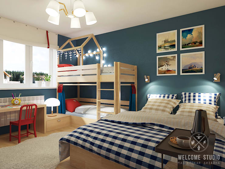 Детская для двоих. Дом в г. Володарск: Детские комнаты в . Автор – Мастерская дизайна Welcome Studio
