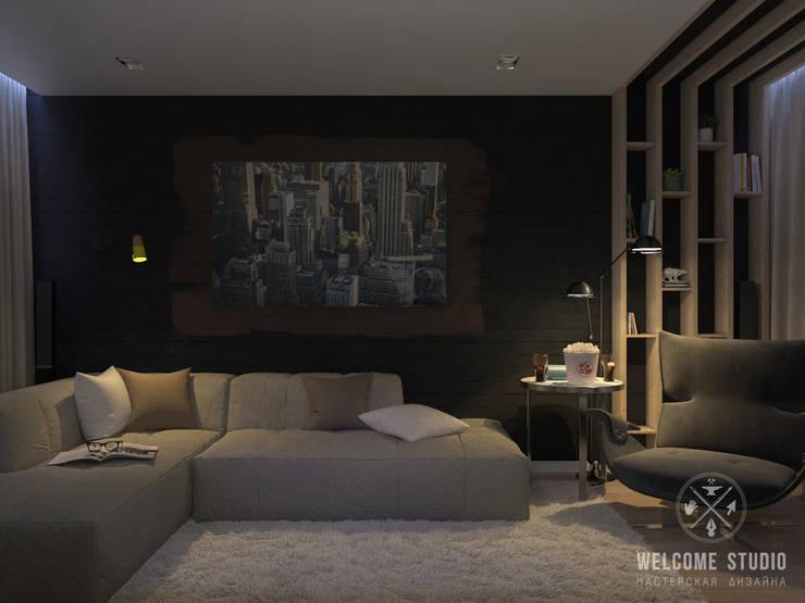 Трёхкомнатная квартира «Fresh Color» в г. Нижний Новгород: Гостиная в . Автор – Мастерская дизайна Welcome Studio