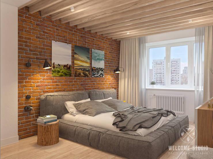 Трёхкомнатная квартира «Fresh Color» в г. Нижний Новгород: Спальни в . Автор – Мастерская дизайна Welcome Studio