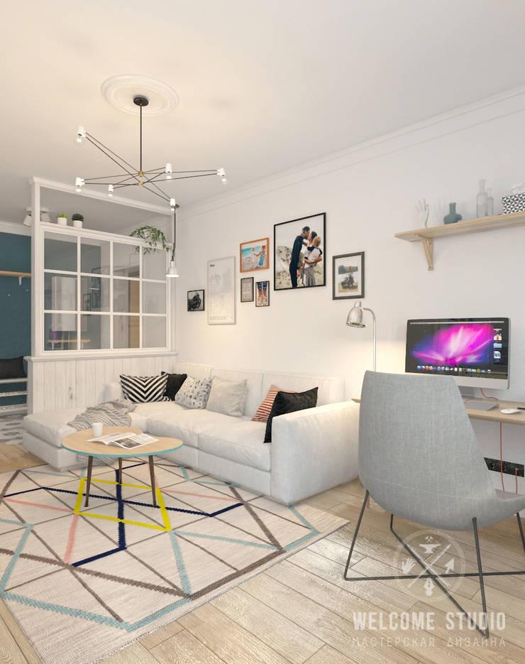 Четырёхкомнатная квартира в Москве «Scandinavian Breath»: Гостиная в . Автор – Мастерская дизайна Welcome Studio