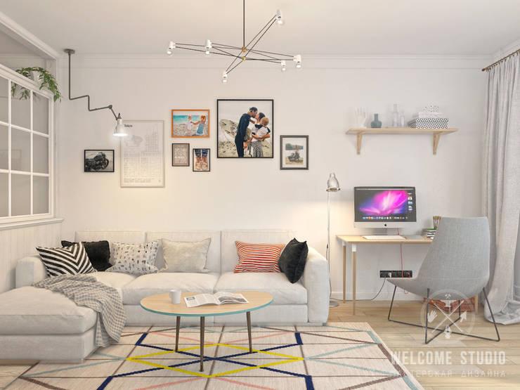 Salones de estilo escandinavo de Мастерская дизайна Welcome Studio