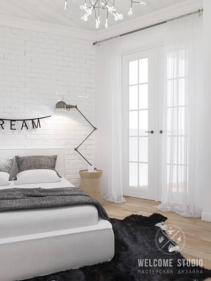 Четырёхкомнатная квартира в Москве «Scandinavian Breath»: Спальни в . Автор – Мастерская дизайна Welcome Studio