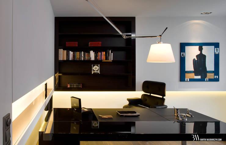 Estudios y bibliotecas de estilo minimalista de Bartek Włodarczyk Architekt Minimalista