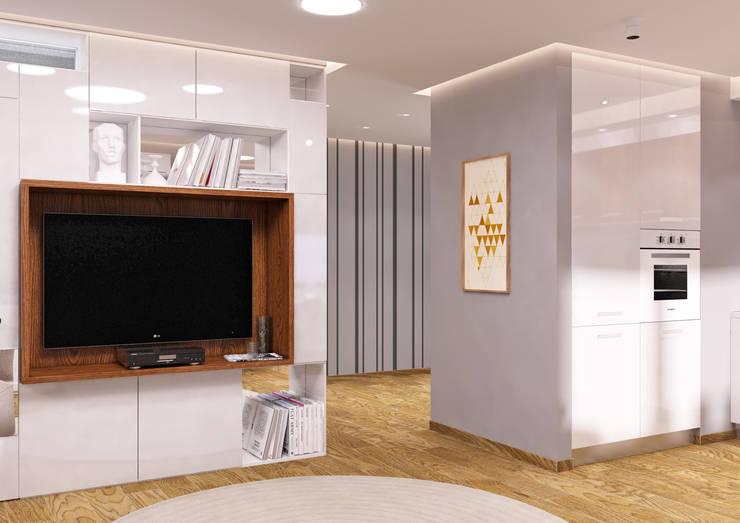 Студия 40 в Лазурном: Гостиная в . Автор – QUADRUM STUDIO