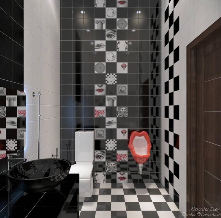 """Дизайн санузла в современном стиле  в ЖК """"Адмирал"""": Ванные комнаты в . Автор – Студия интерьерного дизайна happy.design, Модерн"""