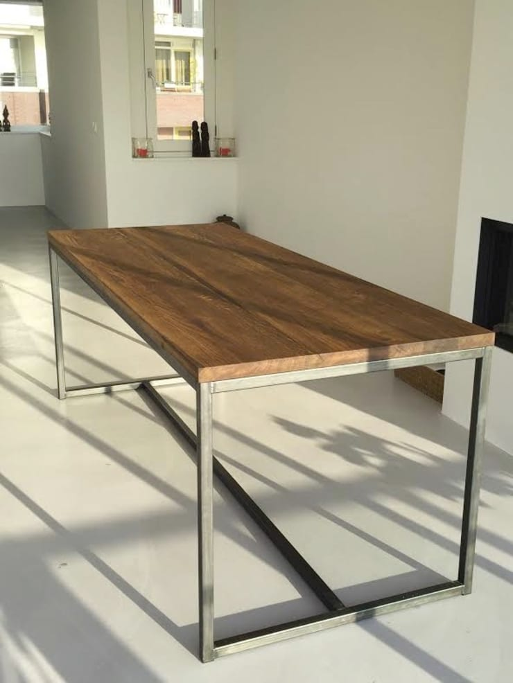 Tafels:  Woonkamer door Houthandel van Steen | Man-made furniture, Industrieel Massief hout Bont