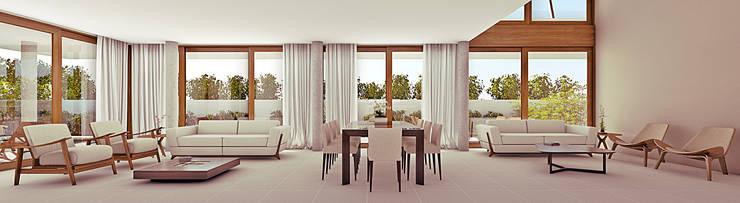 Projekty,  Salon zaprojektowane przez Martins Lucena Arquitetos
