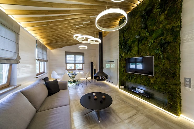 Projekty,  Salon zaprojektowane przez Михаил Новинский (MNdesign)