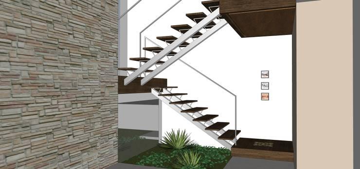 Casa ED: Corredores e halls de entrada  por Martins Lucena Arquitetos