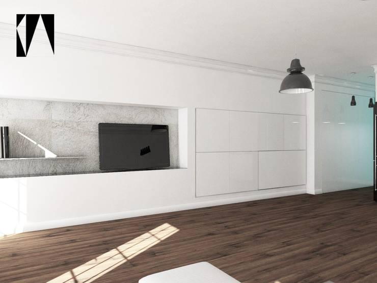 Salon i garderoba w jednym: styl , w kategorii Salon zaprojektowany przez Katarzyna Wnęk,