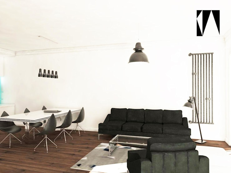 Salon i sypialnia: styl , w kategorii Salon zaprojektowany przez Katarzyna Wnęk,