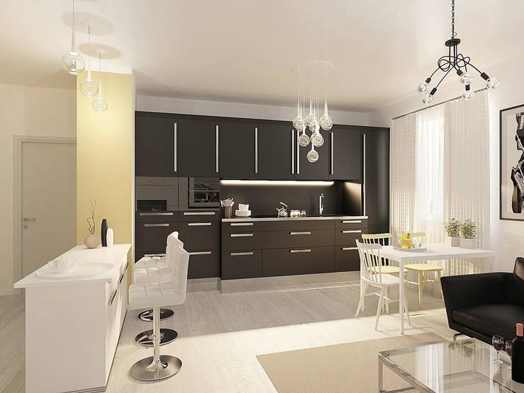 Студия-квартира для творческой пары : Гостиная в . Автор – OK Interior Design