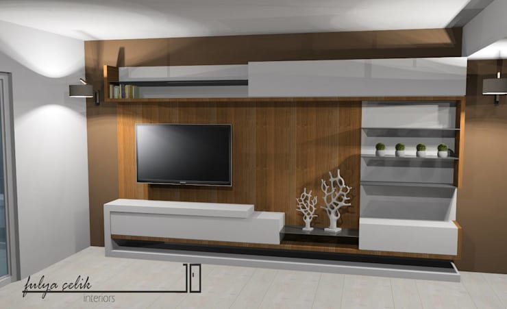 cyprus interiors – modern tv ünite ön görünüm: modern tarz Oturma Odası
