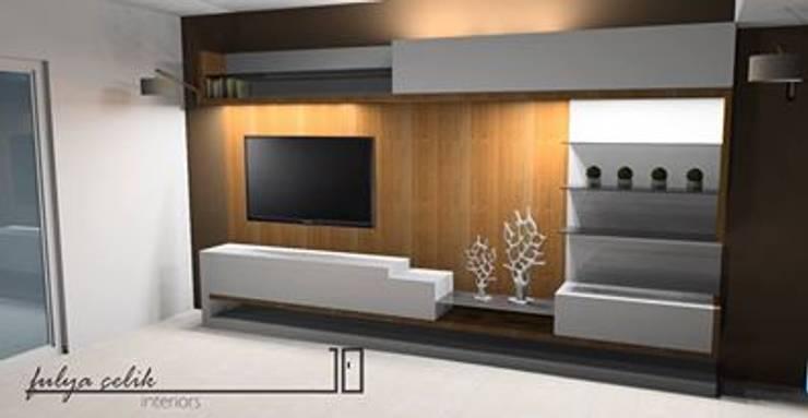 cyprus interiors – yan görünüm tv ünitesi: modern tarz , Modern Ahşap Ahşap rengi