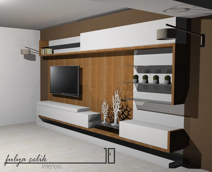 cyprus interiors – tv ünite: modern tarz , Modern Ahşap Ahşap rengi