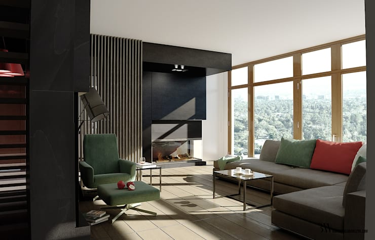 Salon: styl , w kategorii Salon zaprojektowany przez Bartek Włodarczyk Architekt