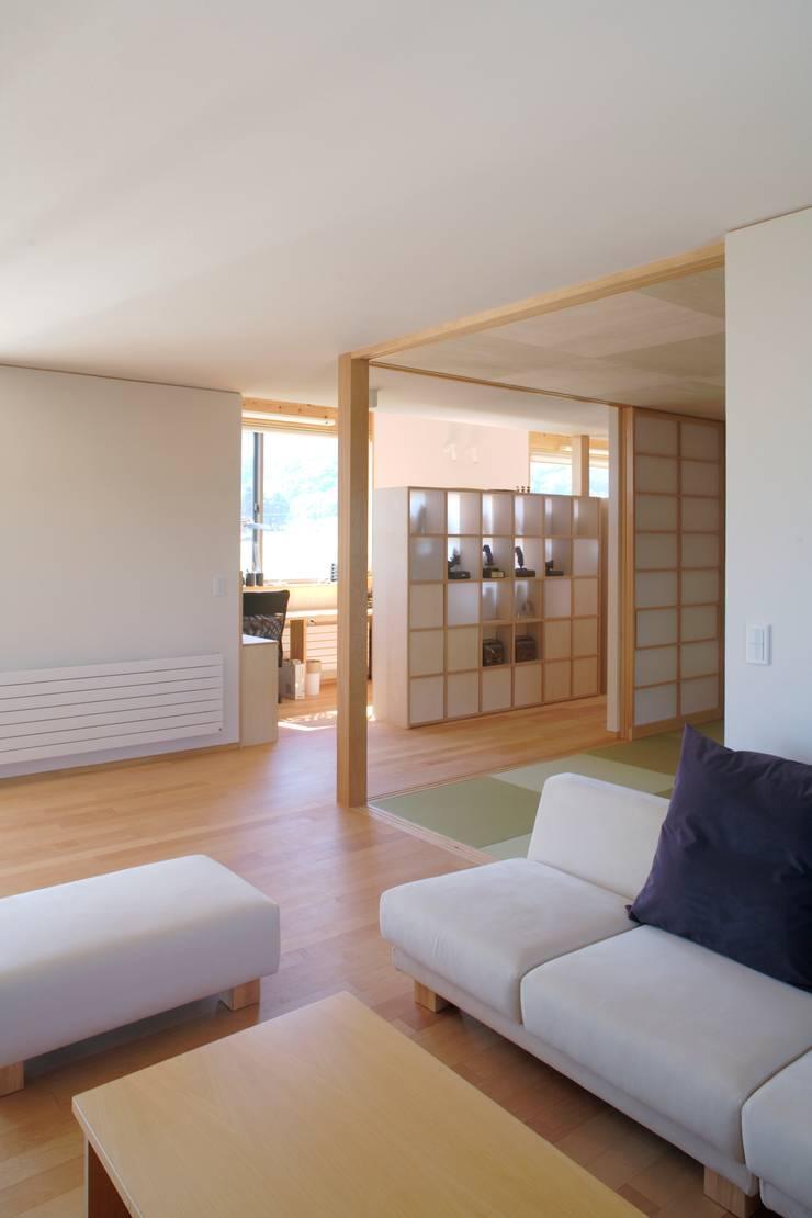 安曇野の平屋の家: 尾日向辰文建築設計事務所が手掛けたリビングです。