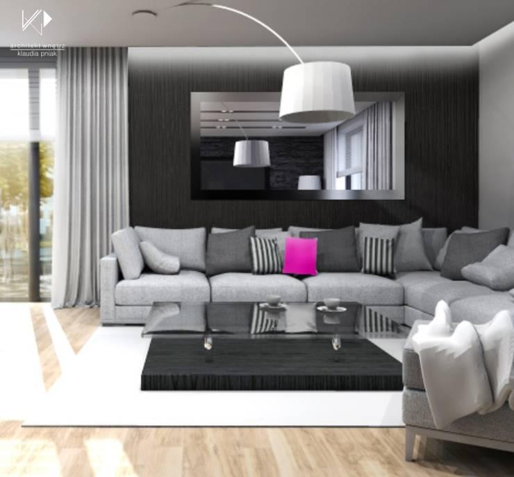 Salon : styl , w kategorii Salon zaprojektowany przez Architekt wnętrz Klaudia Pniak,