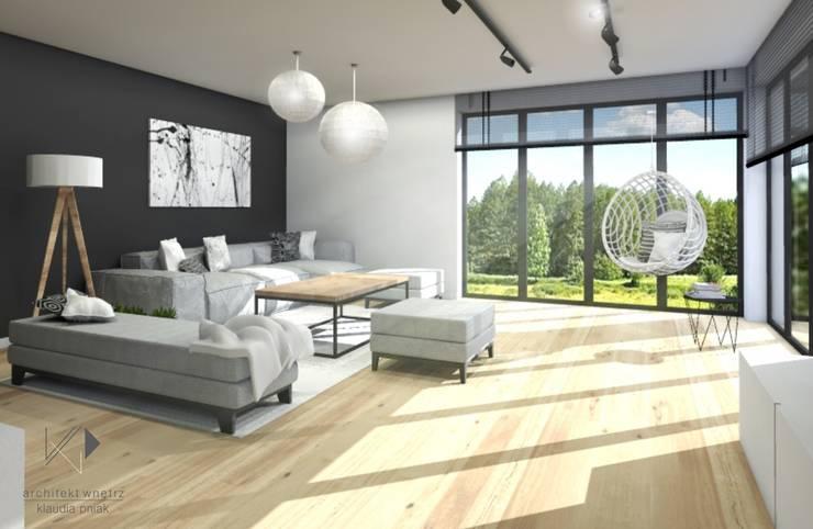 Salon z miejsce do relaksu : styl , w kategorii Salon zaprojektowany przez Architekt wnętrz Klaudia Pniak