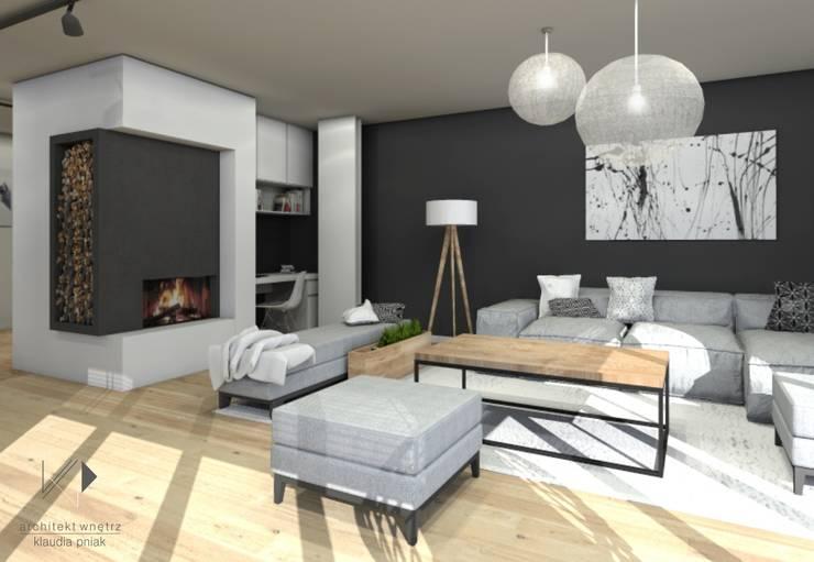 Salon z kominkiem i miejscem do pracy : styl , w kategorii Salon zaprojektowany przez Architekt wnętrz Klaudia Pniak