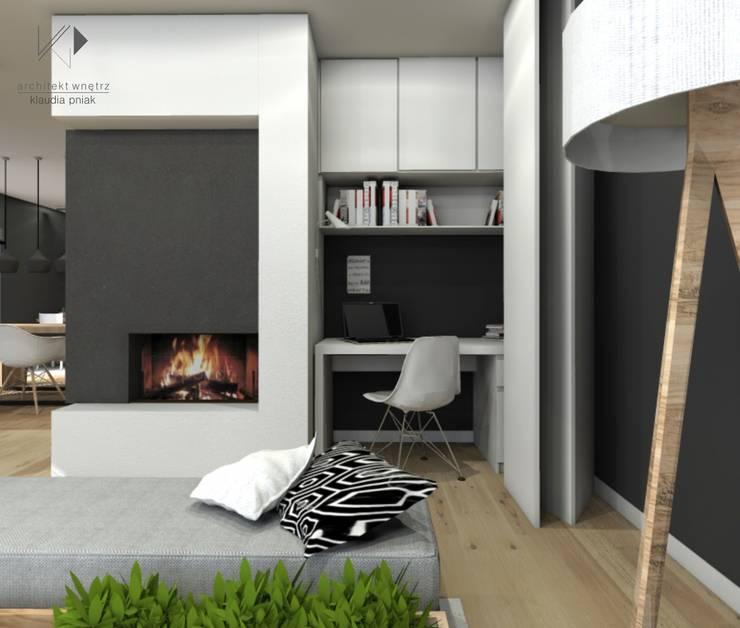 Chowane miejsce do pracy w salonie : styl , w kategorii Salon zaprojektowany przez Architekt wnętrz Klaudia Pniak