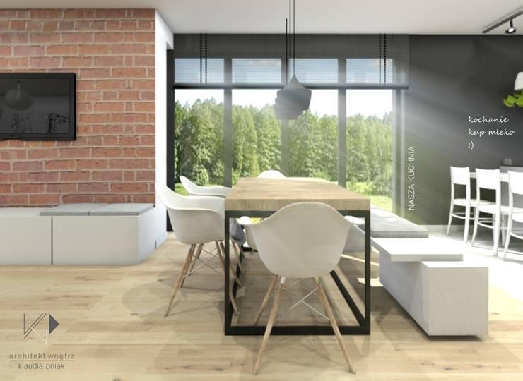 Jadalnia z pięknym widokiem : styl , w kategorii Jadalnia zaprojektowany przez Architekt wnętrz Klaudia Pniak