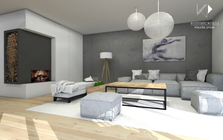 Salon w betonie : styl , w kategorii Salon zaprojektowany przez Architekt wnętrz Klaudia Pniak