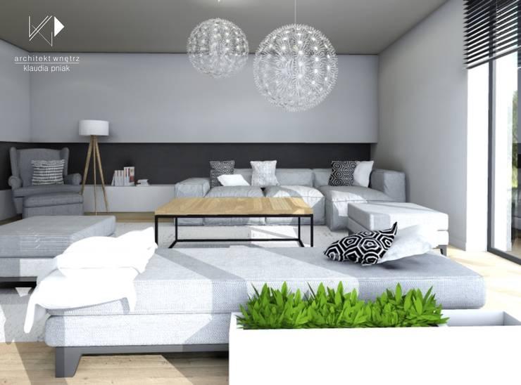Salon z miejscem relaksu : styl , w kategorii Salon zaprojektowany przez Architekt wnętrz Klaudia Pniak