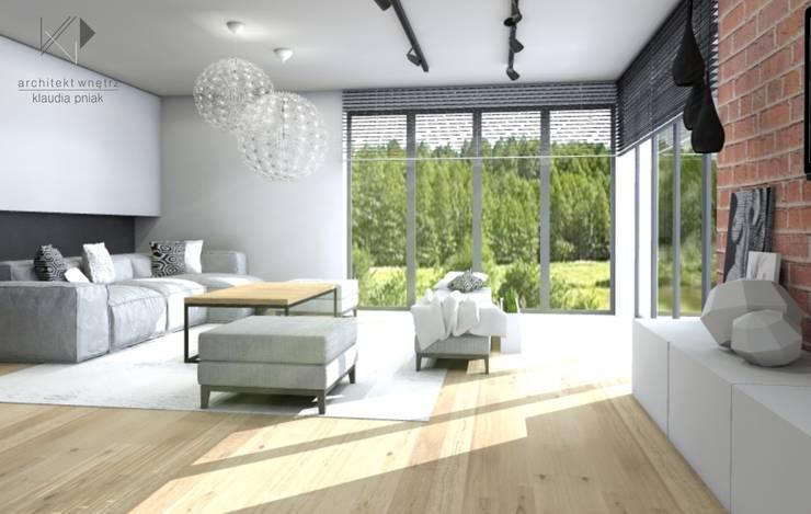 Przestronny salon z cudownym widokiem : styl , w kategorii Salon zaprojektowany przez Architekt wnętrz Klaudia Pniak