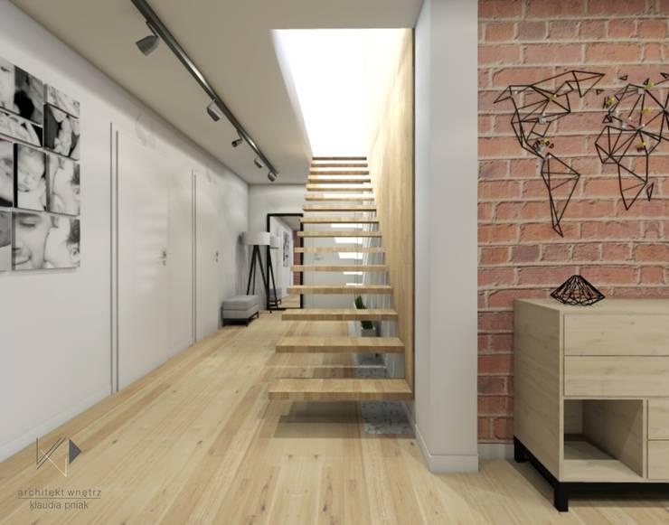 Schody : styl , w kategorii Korytarz, przedpokój zaprojektowany przez Architekt wnętrz Klaudia Pniak,